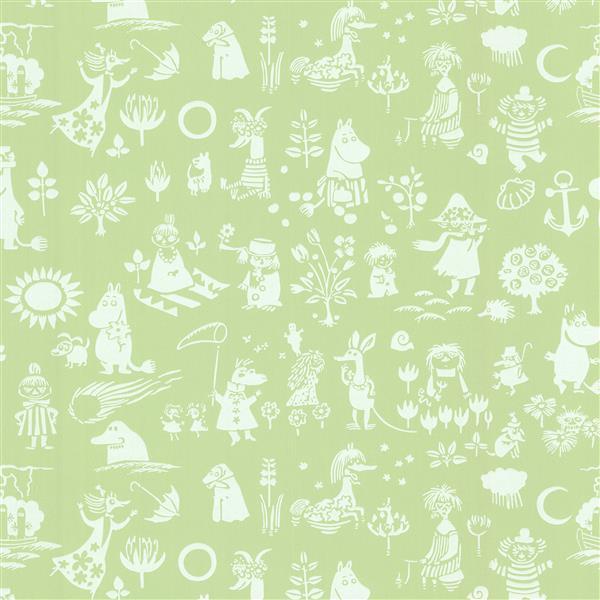 "Papier peint Moomin, 20,5"", vert"