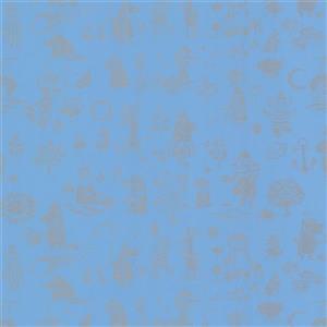 """Papier peint Moomin, 20,5"""", bleu"""