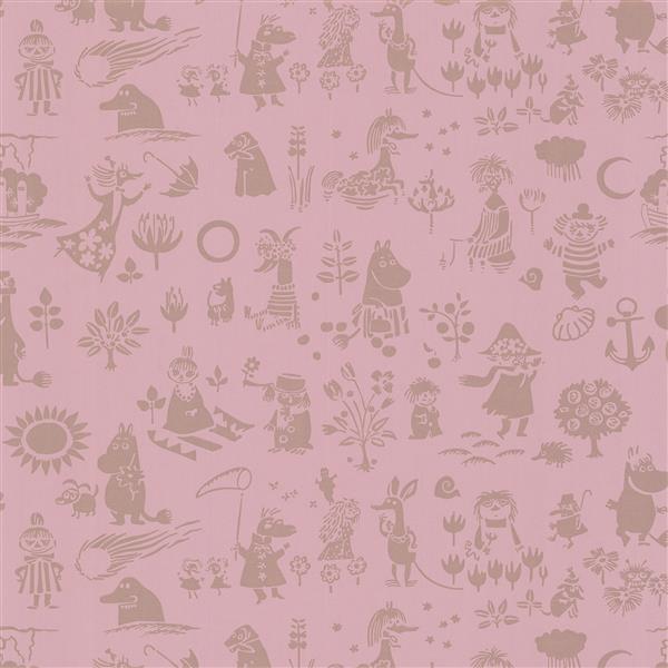 "Papier peint Moomin, 20,5"", rose"