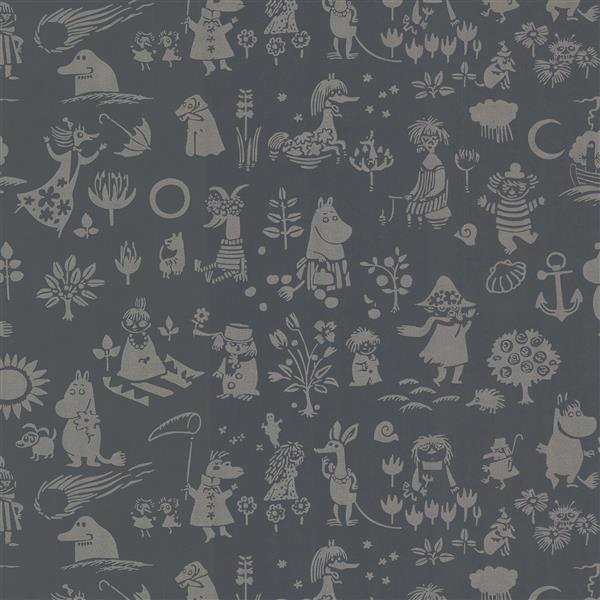 Brewster Wallcovering Black Moomin Non-Woven Unpasted Wallpaper