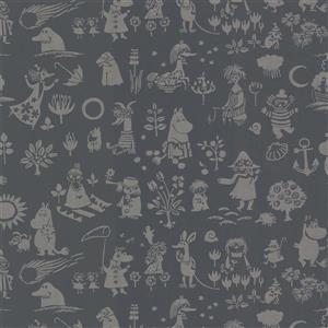 """Papier peint Moomin, 20,5"""", noir"""
