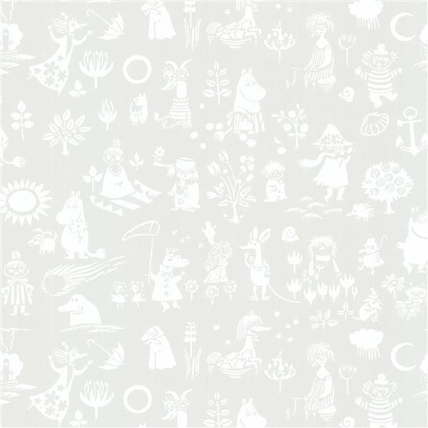 "Papier peint Moomin, 20,5"", gris"