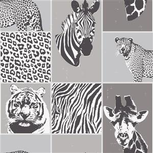 Brewster Wallcovering Zoya animal 56.4 sq ft Grey Unpasted Wallpaper