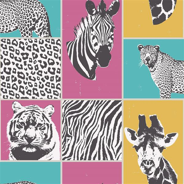 Brewster Wallcovering Zoya animal 56.4 sq ft Multicolor Unpasted Wallpaper