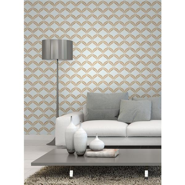 Brewster Wallcovering Wentworth Geo Ogee 56.4 sq ft Blue Wallpaper