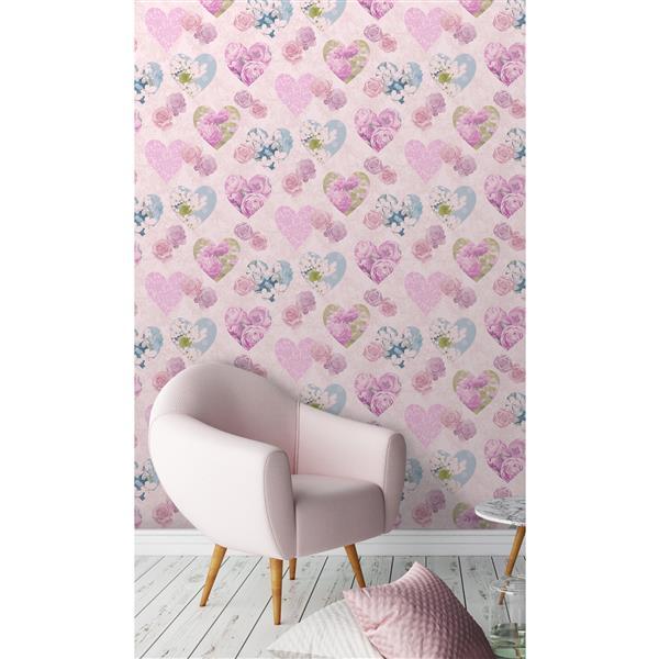 """Papier peint coeurs en fleurs, 20,5"""", rose"""