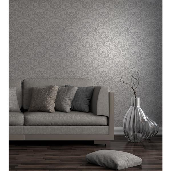 Brewster Wallcovering Wentworth Damask 56.4 sq ft Grey Wallpaper
