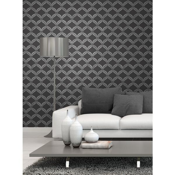 Brewster Wallcovering Wentworth Damask 56.4 sq ft Black Wallpaper