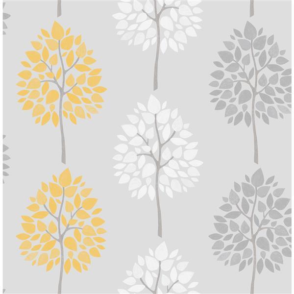 Brewster Wallcovering 20.5-in Grey Alder Tree Wallpaper