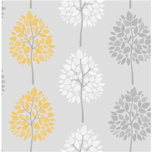 Brewster Wallcovering 20.5-in Grey Alder Tree Wallpaper
