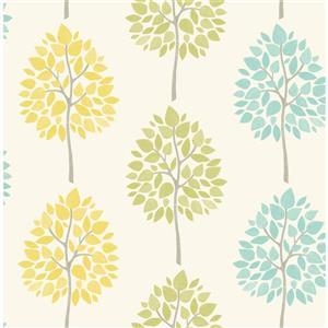 """Papier peint arbre aulne, 20,5"""", crème"""