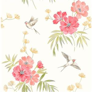 Brewster Wallcovering Riva 20.5-in Pink Flowers Wallpaper