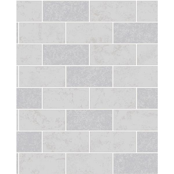 Brewster Wallcovering Provincial Wallcoverings Grey Ceramica Subway Tile Wallpaper