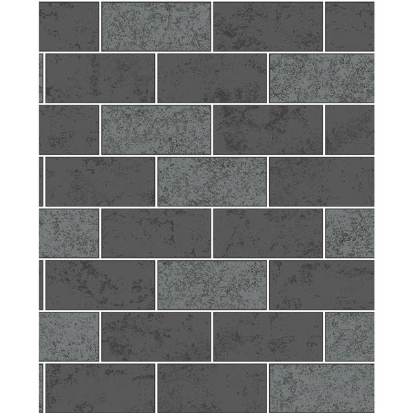 Brewster Wallcovering Provincial Wallcoverings Black Ceramica Subway Tile