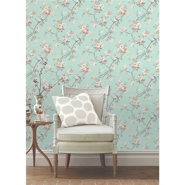 Brewster Wallcovering Seafoam Chinoiserie 56.4 sq-ft Green Unpasted Wallpaper