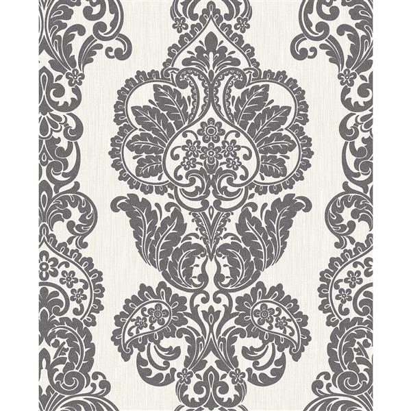 Brewster Wallcovering Rochester 20.5-in Grey Anthracite Damask Wallpaper