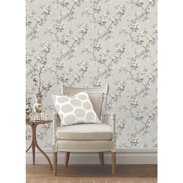 "Brewster Wallcovering Chinese Flower Wallpaper - 20.5"" - Gray"