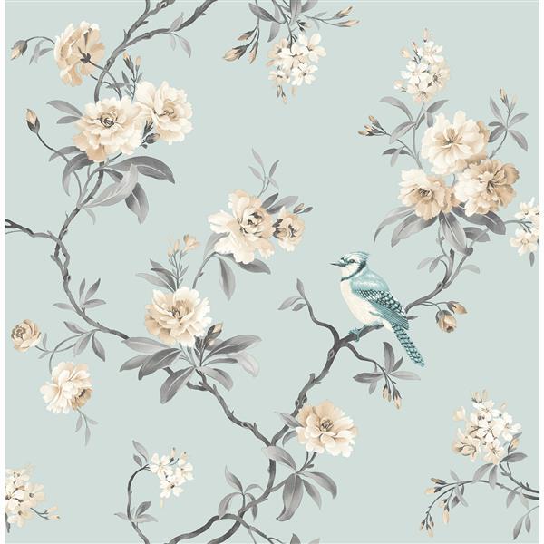 """Papier peint à fleurs chinoiserie, 20,5"""", bleu"""
