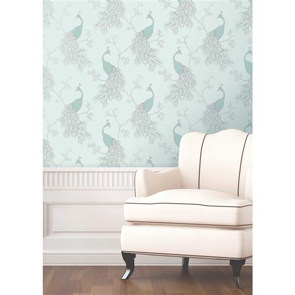 Brewster Wallcovering 20.5-in Green Peacock Phasia Wallpaper