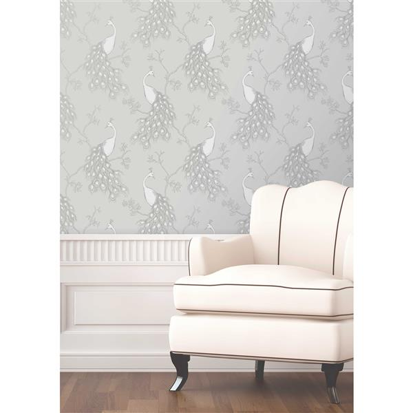 Brewster Wallcovering 20.5-in Grey Peacock Wallpaper
