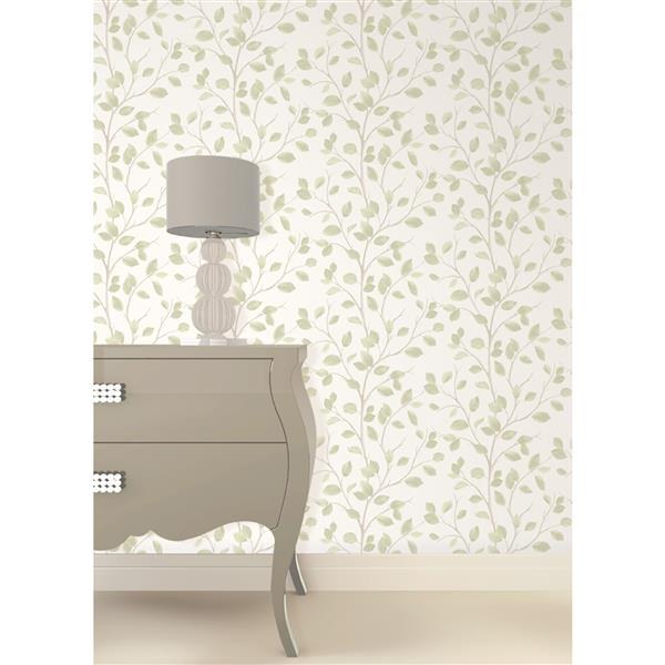Brewster Wallcovering Natural/Green Leafs Wallpaper 20.5-in