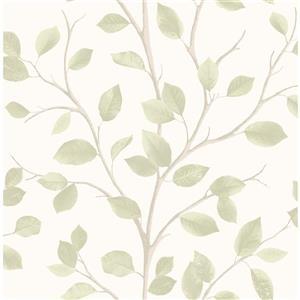 """Papier peint feuilles, 20,5"""", vert"""