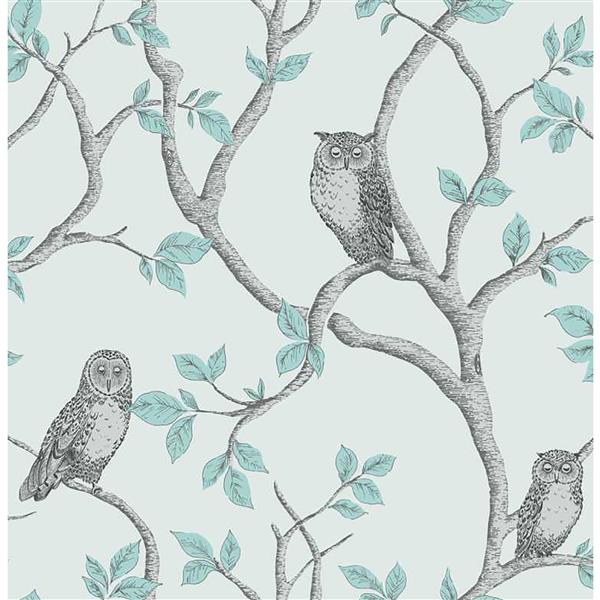 Brewster Wallcovering Teal/Blue Linden Owl Wallpaper 20.5-in