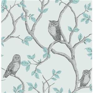 """Papier peint Linden hibou, 20,5"""", bleu"""