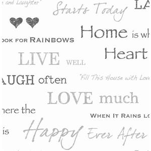 Brewster Wallcovering Joyful House 20.5-in Grey Text Unpasted Wallpaper