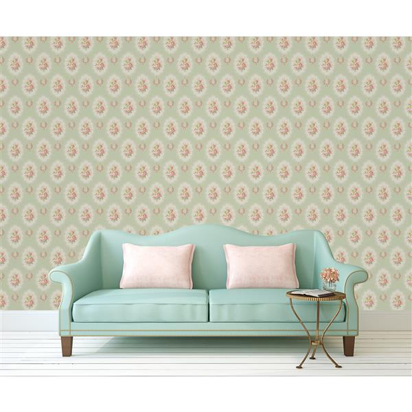 Brewster Wallcovering Green Floral Non-Woven Paste The Wall 20.5-in Elda Wallpaper