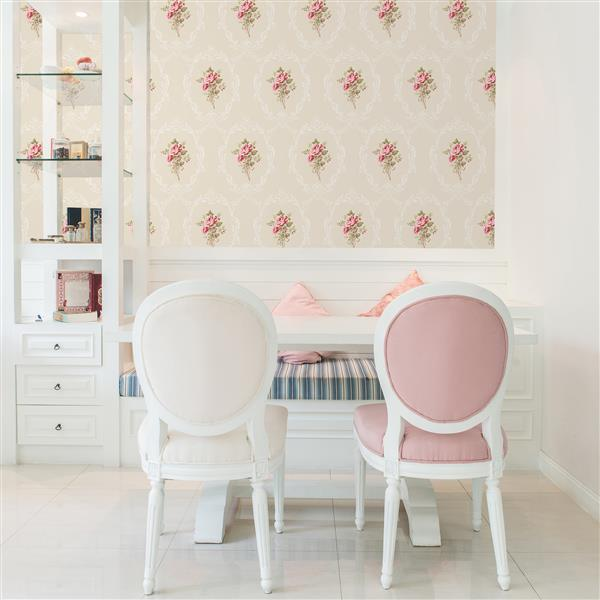 Brewster Wallcovering Camellia 20.5-in Gold with Flowers Paste The Wall Wallpaper
