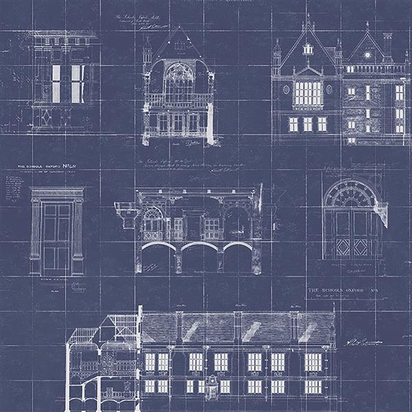 Brewster Wallcovering Blue Blueprint Non-Woven Paste The Wall 20.5-in Estcourt Wallpaper