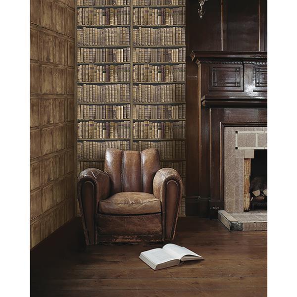 "Papier peint bibliothèque, 20,5"", vert"
