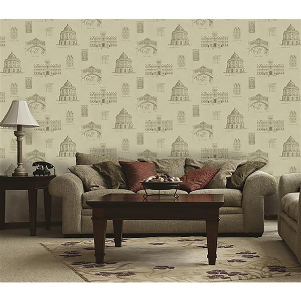 Brewster Wallcovering Cream Patterned Non-Woven Paste The Wall 20.5-in Domaine Wallpaper