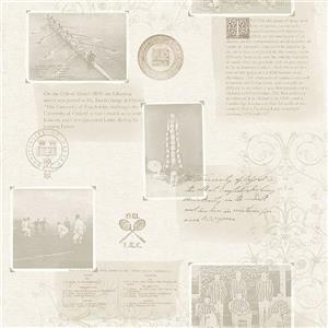 """Papier peint Archive, 20,5"""", gris"""