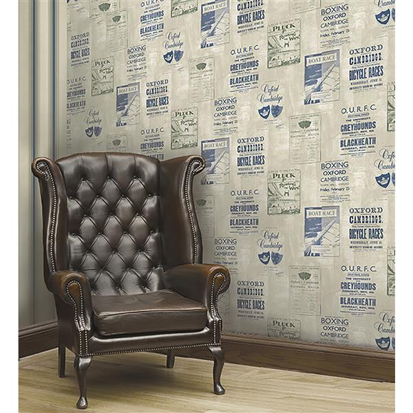Brewster Wallcovering Iffley Blue 20.5-in Unpasted Wallpaper