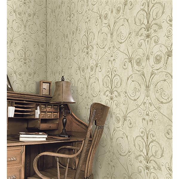 Brewster Wallcovering Beige/Brown Curlicue Wallpaper 20.5-in