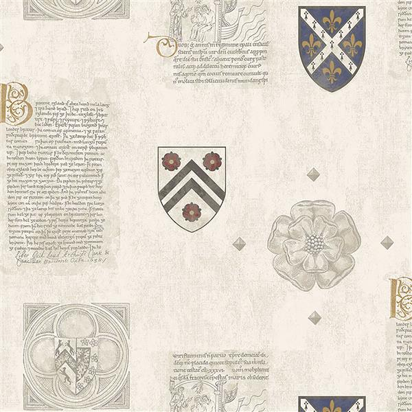 Brewster Wallcovering Crest 56.4 sq ft Off-White/ Cream Wallpaper