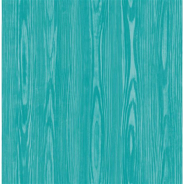 """Papier peint Illusion faux bois, 20,5"""", bleu"""