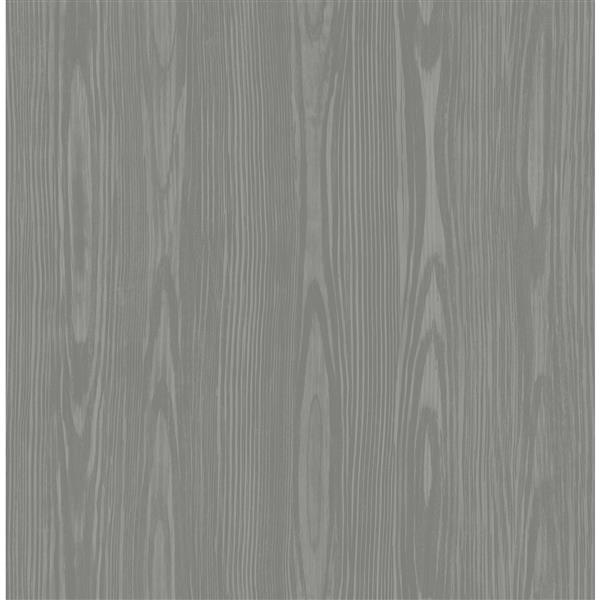 A-Street Prints Illusion 20.5-in Grey Faux Wood Unpasted Wallpaper
