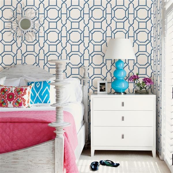 A-Street Prints Summer Geometric 56.4 sq ft Blue Unpasted Wallpaper