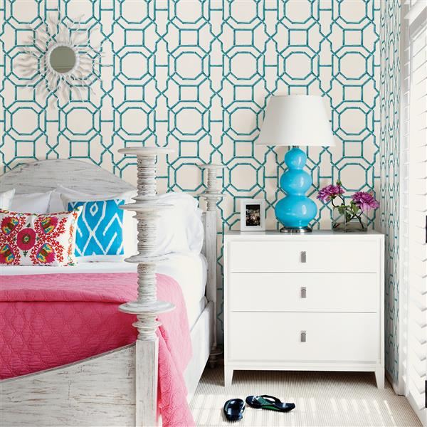 A-Street Prints Lattice 56.4 sq ft Teal UnPasted Wallpaper