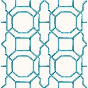 "Papier peint treillis, 20,5"", bleu"