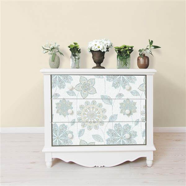 "Gyspsy Floral Wallpaper - 20.5"" x 216"" - Blue and Green"