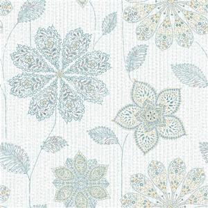 "Papier peint Gyspsy floral, 20,5"" x 216"", bleu et vert"