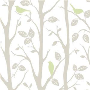 """Papier peint autocollant, arbre, 20,5"""" x 216"""", vert"""