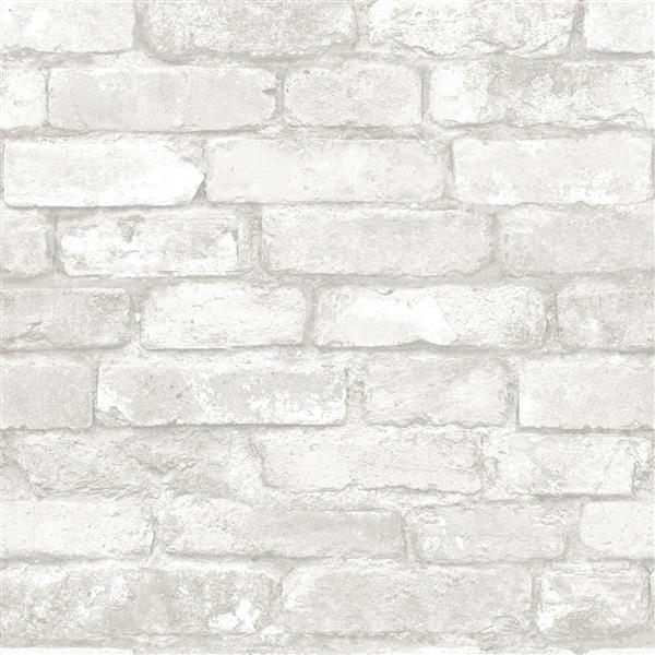 "Brick Wallpaper - 20.5"" x 216"" - Gray and White"