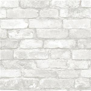 """Papier peint brique, 20,5"""" x 216"""", gris et blanc"""