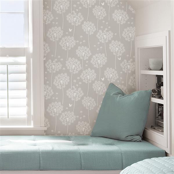NuWallpaper Dandelion Wallpaper - 20.5-in x 216-in - Taupe