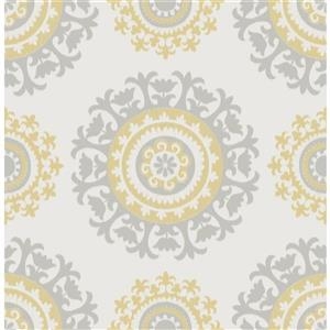 NuWallpaper Suzani Sticker Wallpaper - 20.5-in x 216-in - Gray and Yellow